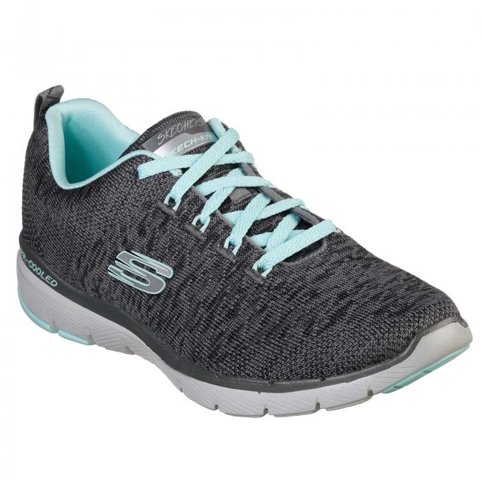 Pantofi sport femei Skechers Flex Appeal 3.0 gri/negru-big