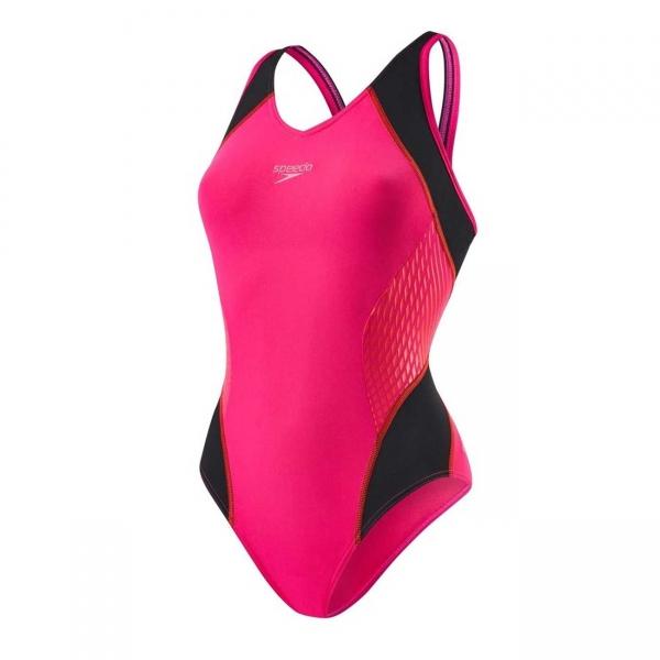 Costum inot femei Speedo Muscleback Fit roz/rosu-big