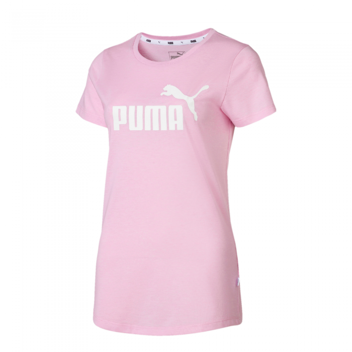 Tricou sport femei Puma ESS+ Logo Heather roz-big