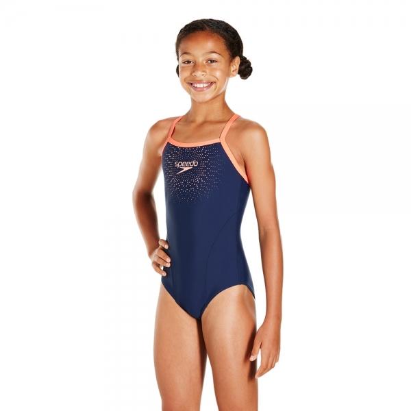 Costum de baie pentru fete Speedo Gala Logo muscleback bleumarin/rosu-big