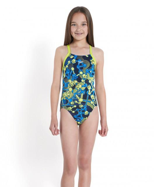 Costum de baie Speedo pentru fete allover rippleback negru/violet/portocaliu-big