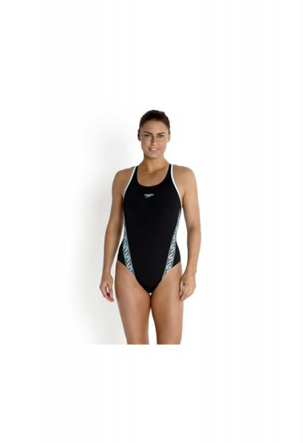 Costum pentru femei Speedo monogram muscleback negru/albastru-big