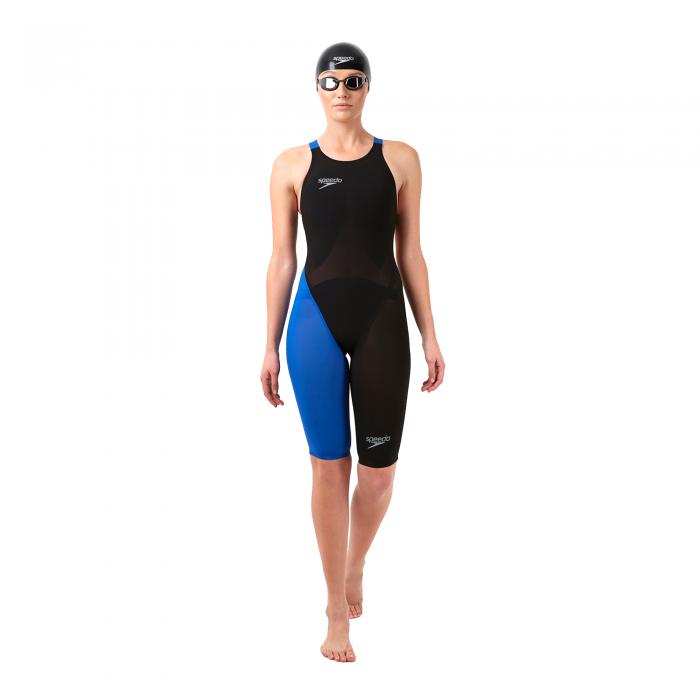 Costum profesional inot Speedo pentru femei Fastskin LZR racer elite 2 openback kneeskin negru/albastru-big