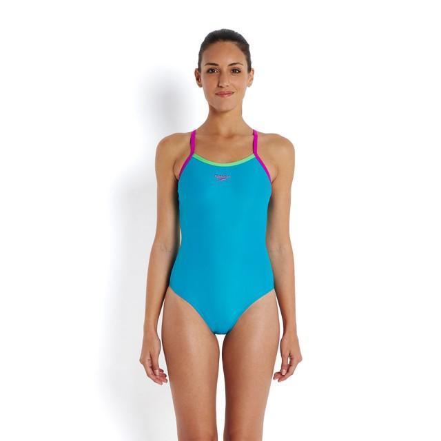 Costum Speedo femei thinstrap muscleback albastru/verde/mov-big