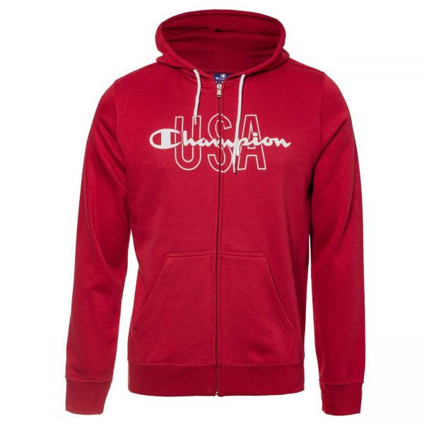 Hanorac Champion Hooded Full Zip Sweatshirt rosu-big