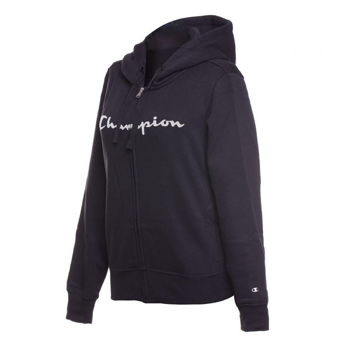 Hanorac sport cu fermoar femei Champion Hooded Full Zip Sweatshirt negru-big