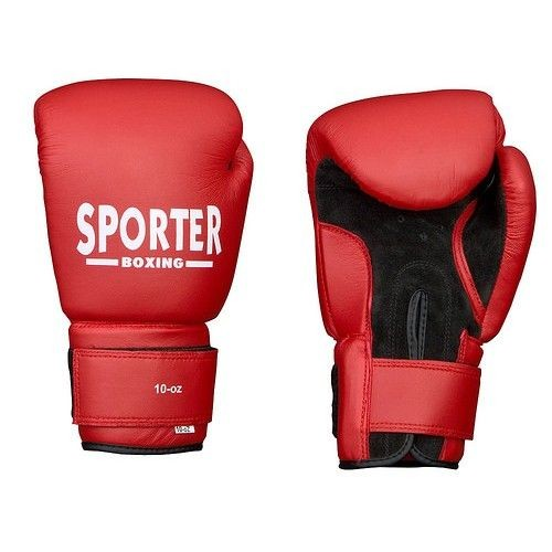 Manusi box piele rosu Sporter-big