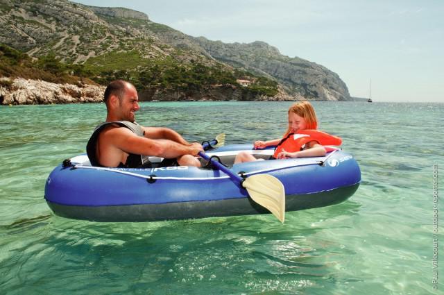 Set barca Carravelle gonflabila KK55 albastru/gri Sevylor-big