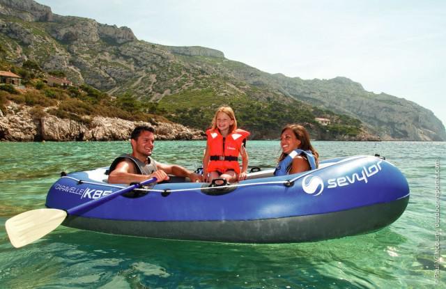 Set barca Carravelle gonflabila KK85 albastru/gri Sevylor-big