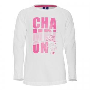 Bluza cu maneci lungi Crewneck copii Champion alb/roz