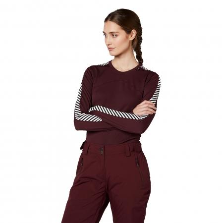 Bluza termica femei Helly Hansen W HH LIFA CREW rosu inchis 2