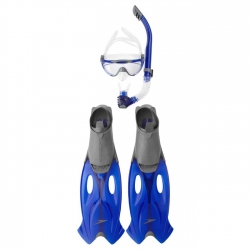 Set masca, tub scufundari si labe Speedo gri/albastru