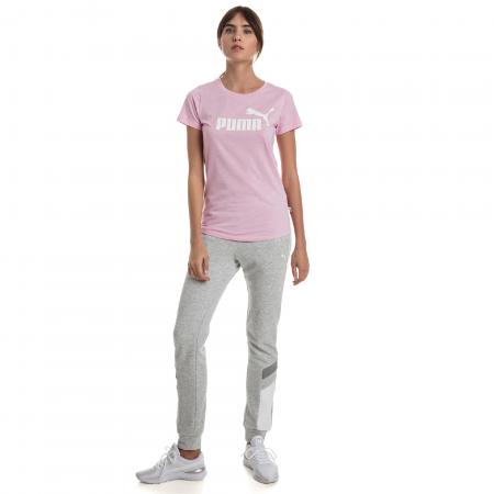 Tricou sport femei Puma ESS+ Logo Heather roz4