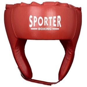 Casca box piele artificiala rosu L Sporter
