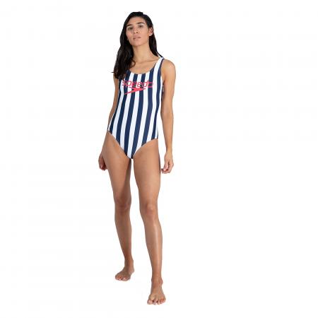 Costum baie femei Speedo Heritage Ice Cream U-Back bleumarin/alb0