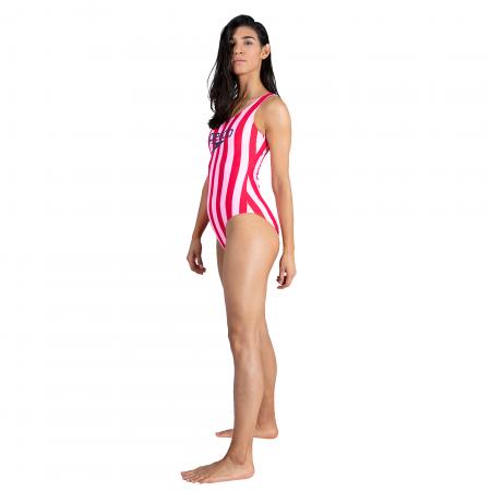 Costum baie femei Speedo Heritage Ice Cream U-Back roz/rosu4