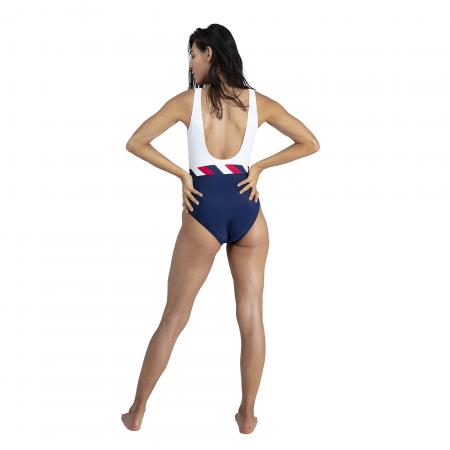 Costum baie femei Speedo Heritage Shoreline U-Back bleumarin/alb4