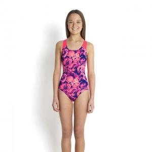 Costum de baie allover splash back Speedo pentru fete Mov/Rosu4