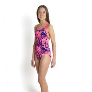 Costum de baie allover splash back Speedo pentru fete Mov/Rosu1