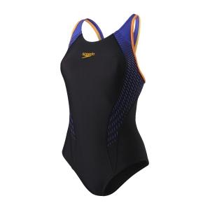 Costum de baie pentru femei Speedo Fit Laneback negru/portocaliu