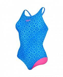 Costum de baie Speedo pentru femei Monogram allover muscleback albastru5
