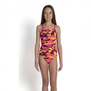 Costum de baie Speedo pentru fete allover rippleback negru/roz2