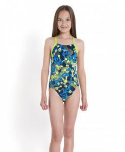 Costum de baie Speedo pentru fete allover rippleback negru/violet/portocaliu1