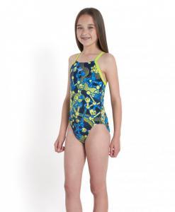 Costum de baie Speedo pentru fete allover rippleback negru/violet/portocaliu3