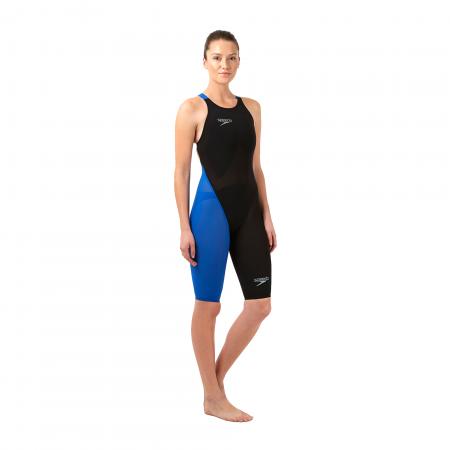 Costum profesional inot Speedo pentru femei Fastskin LZR racer elite 2 openback kneeskin negru/albastru1