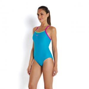 Costum Speedo femei thinstrap muscleback albastru/verde/mov4