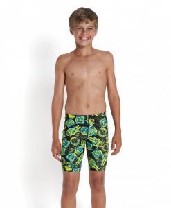 Jammer Speedo pentru copii Allover print negru/verde1