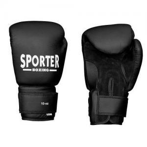Manusi box piele 14oz negru Sporter