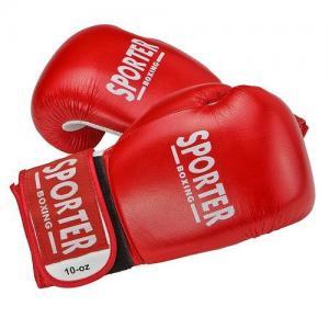 Manusi box piele pentru competitii rosu 12oz Sporter