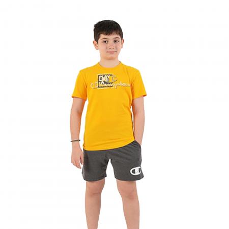 Set tricou + pantaloni scurti copii Champion galben/gri