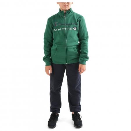 Trening copii Champion Full Zip Ultra Light Fall Fleece verde/bleumarin